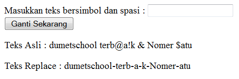 Cara menghilangkan semua simbol dan spasi di alamat url