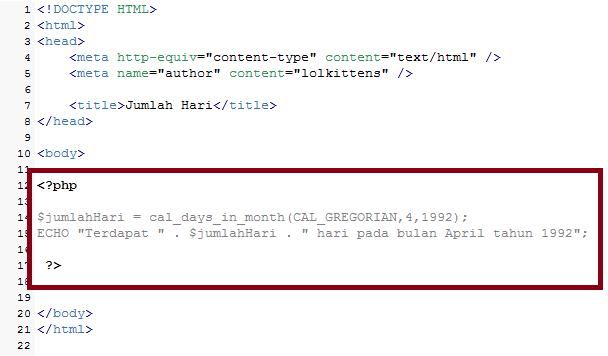 Mencari Jumlah Hari Dengan PHP