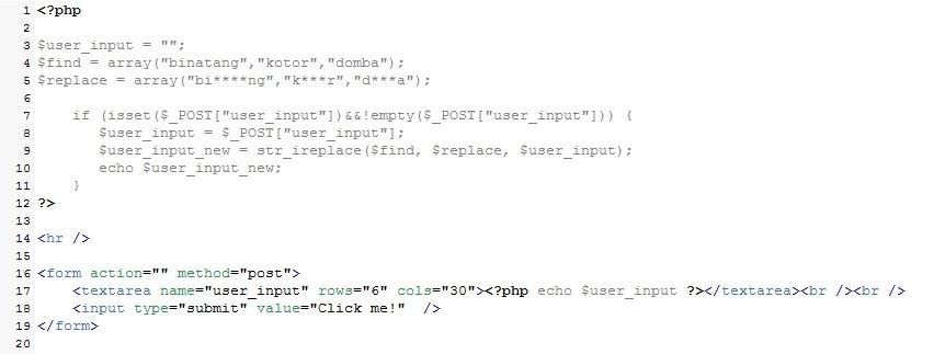 Cara Sensor Kata Pada PHP