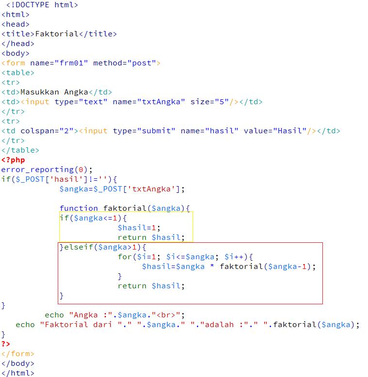Rumus Faktorial Matematika Dengan PHP - Kursus Web Programming