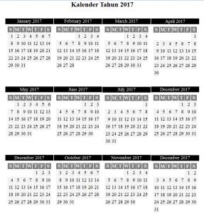 Membuat Kalender Tahun 2017 dengan PHP