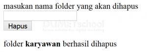 Cara Menghapus Folder Dengan Menggunakan Fungsi Rmdir() Pada PHP