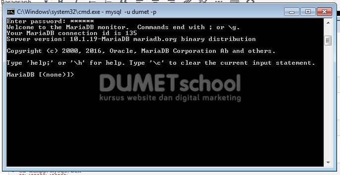 cara membuat database mysql melalui cmd