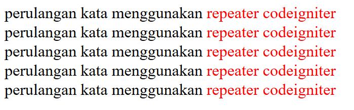 Perbedaan Perulangan Dengan Repeater Pada Helper String CodeIgniter