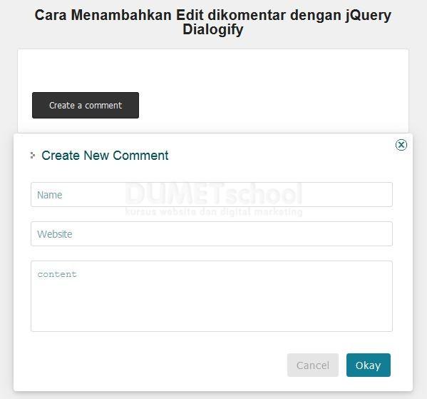 Cara Menambahkan Edit dikomentar dengan jQuery Dialogify part 2