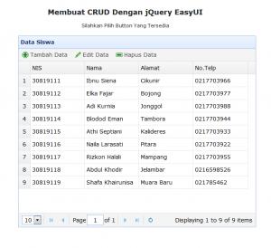 1-Membuat CRUD dengan jQuery EasyUI