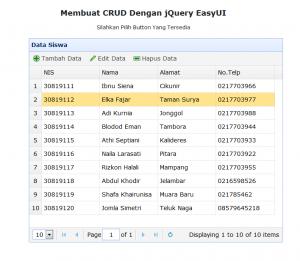 7-Membuat CRUD dengan jQuery EasyUI