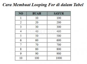 Cara Membuat Looping For di dalam Tabel