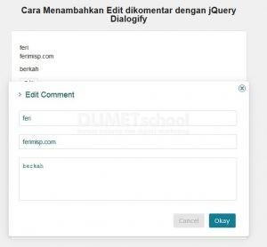 Cara Menambahkan Edit dikomentar dengan jQuery Dialogify