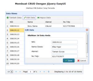 5-Membuat CRUD dengan jQuery EasyUI