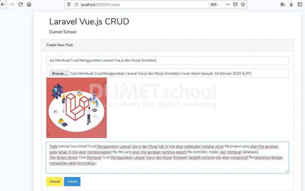 Cara Melakukan Insert Data Menggunakan Laravel Vue.js