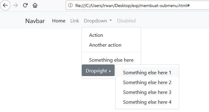 Cara Mudah Membuat Sub Menu Dropdown Menggunakan Bootstrap